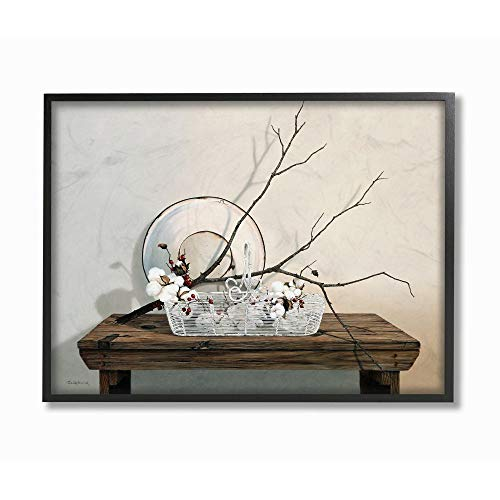 Stupell Industries Rustic Winter Farm Table with Cotton Floral Still-Life Wall Art, 24 x 30, Off-White