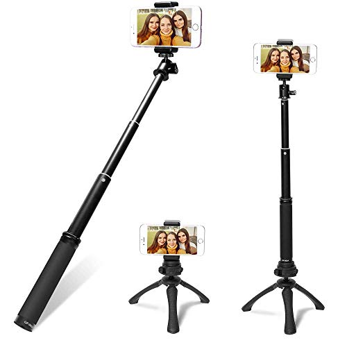 Fotopro Selfie Stick Stativ, Mini Erweiterbar selfiestick,3 In 1 Selfie Stange Stab mit Bluetooth Fernauslöse und Abnehmbares Handy Stativ für iPhone Smartphones Gopro DLSR Kamera