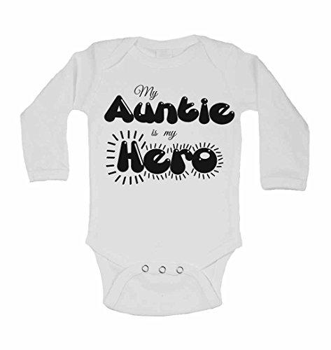 My Auntie est My Hero – personnalisé bébé à manches longues gilets bodies bébé SE Développe pour garçons, filles – Blanc – 2–3 ans