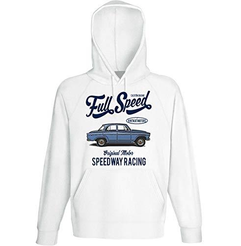 Teesandengines Men's Simca aronde p60 Elysee 1958 Full Speed White Hoodie Size Medium