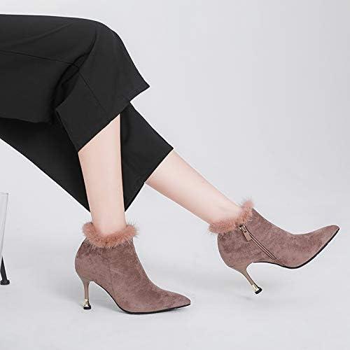 Shukun Botines botas Pequeñas de tacón de Acero para mujer con botas Delgadas Finas botas de algodón Ultrafino de tacón Alto de 7 cm