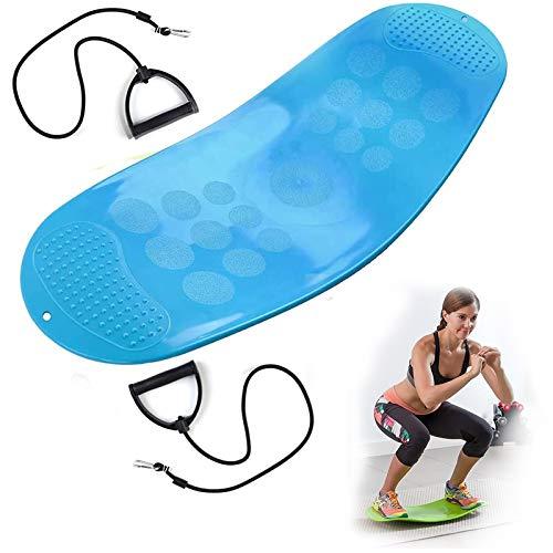 COITROZR Tablero de Equilibrio de Fitness, Tablero de tiernos de relajación, Tablero de Balance Manual de diversión para Entrenamiento de Cuerpo Completo, cojinete de Carga Efectivo de 90 kg,Azul