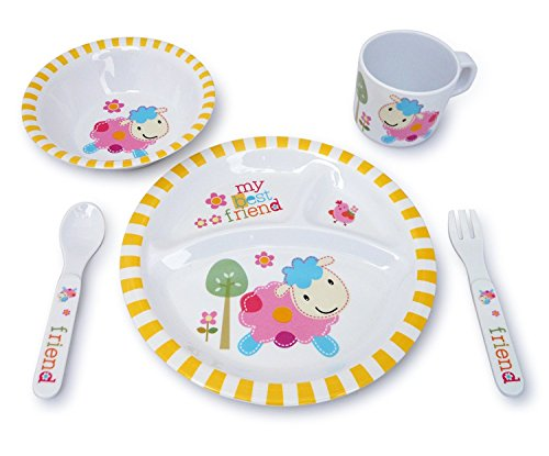 Culina KidsPlate and Bowl Melamine Dinnerware- Lamb. Set of 5