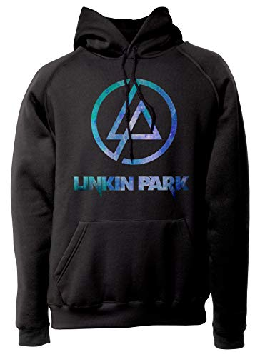 LaMAGLIERIA Felpa Unisex Linkin Park Light Blue Texture - Felpa con Cappuccio Nu Metal Rock Band, M, Nero
