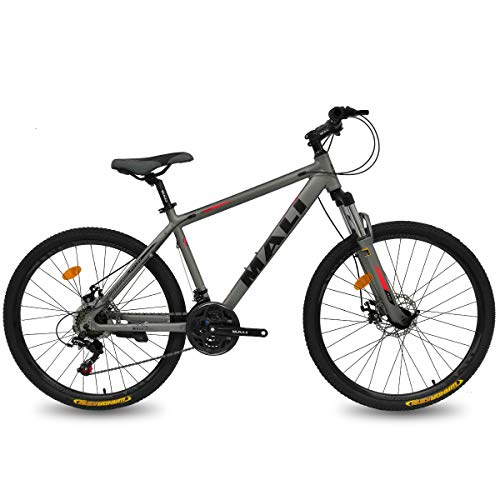 Hiland 26 Inch Mountain Bike Aluminum Disc-Brake 21Speed MTB Bicycle for Men with Suspension Fork Urban Commuter City Bicycle Grey
