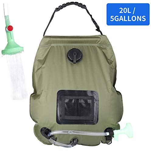 PGYFIS Solar Shower Bag Camping Shower 5 gallons/20L Solar Heating Bag with Removable Hose and On-Off Switchable Shower Head for Outdoor Traveling Hiking (Army Green)
