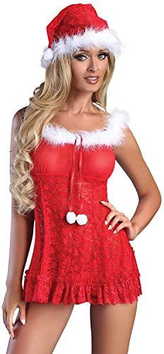 Livia Corsetti Livco schickes 3-teiliges Dessous-Weihnachts-Set aus zartem Negligee, String und Weihnachtsmütze, rot/weiß, Gr. S/M