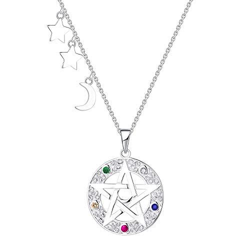 FJ Collar de pentagrama Plata esterlina Energía natural Estrella y luna Collar Sentidos asimétricos Salud Amuleto Wiccan Gótico Colgante