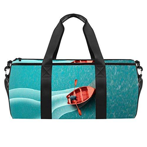 Xingruyun Bolsa de Deporte Paseo en Bote por el mar Azul Bolso de Viaje Bolsa de natación Bolsa de Gimnasio y Fitness Sport Duffel Bag con Bandolera para niños y niñas 45x23x23cm