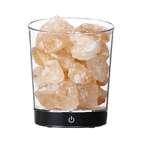 Lámpara de sal del Himalaya de Arontome, portátil, piedra terapéutica de cristal rosa natural, adaptador USB y CA alimentado, con control táctil regulable