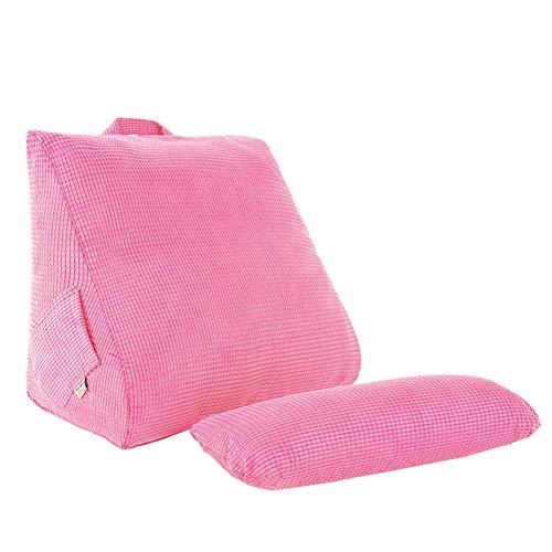 Buistop Memory Foam Terug Wigkussen, driehoekige wig Lumbar Pad Office stoel rust kussen Bolster Lezen Kussen Voor Sofa Bed Daybed Roze