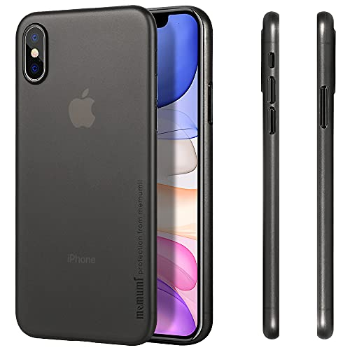 """memumi Case for iPhone XS Max,Cover for iPhone XS Max,6.5"""" Custodia Ultra Sottile Anti-Graffio e Resistente alle Impronte Digitali Caso della Copertura Protettiva in Plastica Dura (Trans-Black)"""