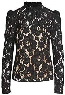 WAYF Women s Emma Puff Sleeve Lace Top Black Medium product image