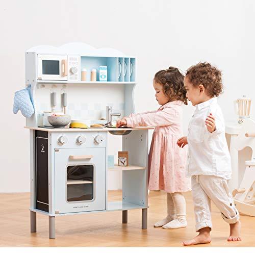 New Classic Toys 11065 Küchenzeile-Modern mit Kochfeld Multi Color – hier in Blau - 2