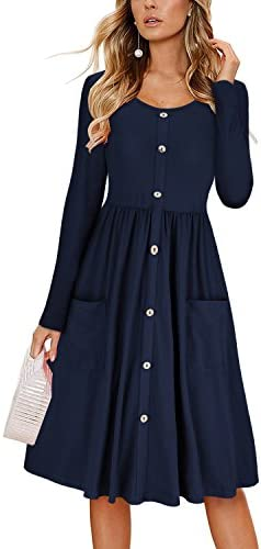 KILIG Women s Dresses Long Sleeve Casual Button Down Swing Dress with Pockets D1 Navy Medium product image