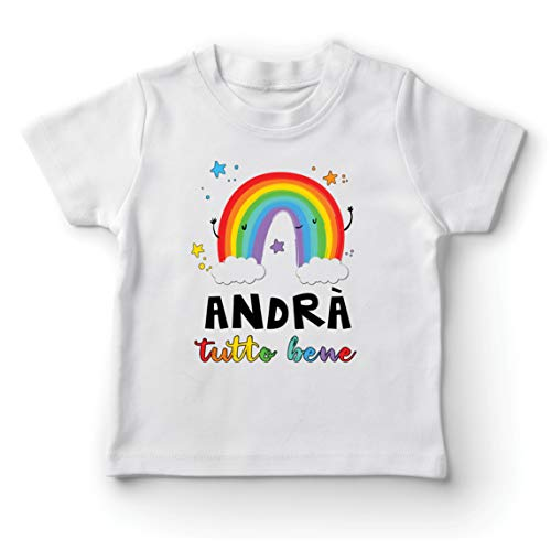lepni.me Kids T-Shirt Andra Tutto Bene Rainbow of Hope Quarantine and Chill (3-4 Years White Multi Color)