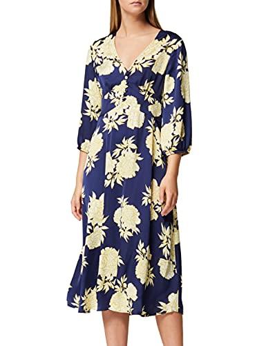 Marchio Amazon - TRUTH & FABLE Vestito Midi A-Line a Fiori Donna, Blu (Floral), 46, Label: L