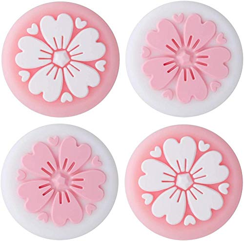 whelsara Sakuras Flower Thumb Grip Caps, 4PCS Silicona Sweet Flowers Cover Joystick Stick Controladores Tapa de botón para Nintendo Switch NS Joy con/Switch Lite Controller