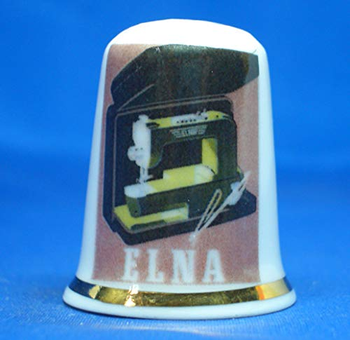 Birchcroft Porselein China Thimble Elna naaimachine Poster Doos