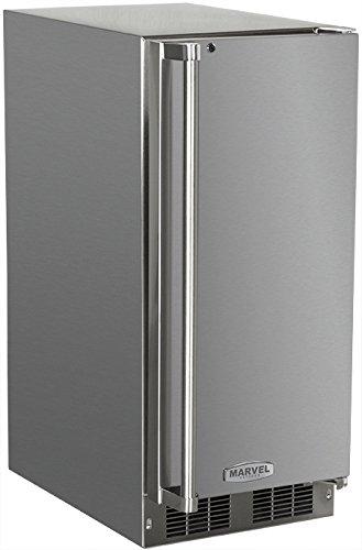 AGA Marvel 25OiM-SS-F-L Outdoor Under-Counter Crescent Ice Machine, Left Hinge Stainless Steel Door, 15-Inch