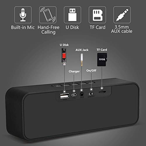 Bluetooth Speakers, Portable Wireless Speakers with Bluetooth+EDR, Loud Stereo 10W Dual Drivers, Built-in Microphone Waterproof Bluetooth Wireless Speaker Travel Party Home Outdoor for Android iPhone