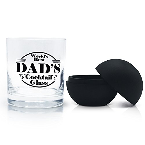 Worlds Best Dad's Rocks Old Fashioned Cocktail Glass - Great for Whiskey Scotch and Bourbon 11oz Tumbler. Perfect for Fathers Day for Husband, Brother, Dad and Grandpa