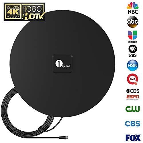 1byone 35 Miles HDTV Antenna Omni-directional TV Antenna with 10 Feet High Performance Cable