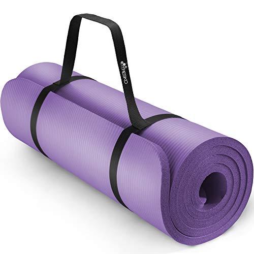 TRESKO Yogamatte Phthalatfrei - Gymnastikmatte rutschfest, Pilatesmatte Fitnessmatte mit Tragegurt, 185 x 60 x 1,5 cm
