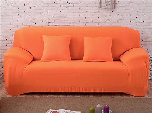 WPLSKY Color sólido Elástico Sofá Funda Spandex Moderno Poliéster Esquina Sofá Sofá Funda de Silla Protector Sala de Estar Naranja