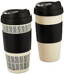 top 10 microwave coffee mug Copco Reusable 2 Double Wall Insulated Travel Mug Set, 16oz, White / Black, 5237160