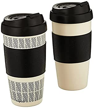 Copco Reusable Set of 2 Insulated Double Wall Travel Mugs 16-ounce White/Black,5237160