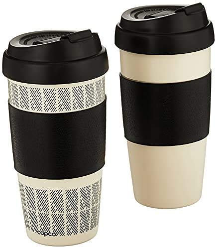 Copco Reusable Set of 2 Insulated Double Wall Travel Mugs, 16-ounce, White/Black,5237160