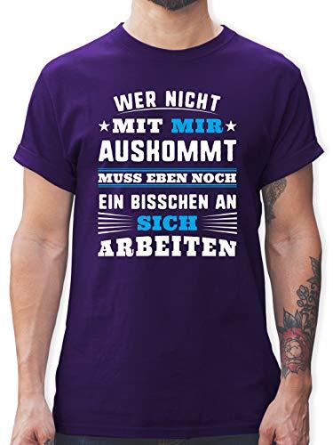 Sprüche - Wer mit Mir Nicht auskommt - blau - XXL - Lila - lustige sprüche Tshirt Herren - L190 - Tshirt Herren und Männer T-Shirts