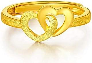 دبل فتح القلب قابل للتعديل خواتم مطلية بالذهب