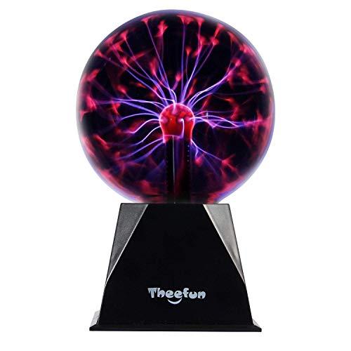 Theefun Bola de plasma mágica, 15 cm, bola electrostática, sensible al tacto, juguete educativo, parpadea, luz estroboscópica, lámpara de plasma, efectos de luz esféricos