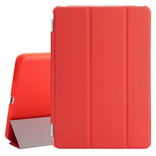 Besdata® iPad mini 2/mini3 Hülle - Ultra Dünn Edles Smart Cover Schutz Hülle Hülle Cover Leder Tasche Etui Schutztasche + Back Hülle für Apple iPad mini 2/mini3 - inkl. Bildschirmschutzfolie Reinigungstuch Stift mit Multi Ständer - Unterstützt Sleep / Wake Funktion (Rot, iPad mini2/mini3)