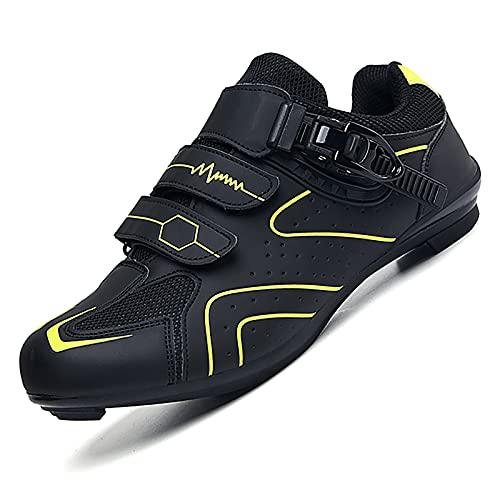 Prodkfe Chaussures de Vélo de Route pour Hommes avec Double Cale Compatible Vélo de Route, Randonnée, Chaussure de Cyclisme en Intérieur avec Boucle pour Chaussures de vélo VTT Femme