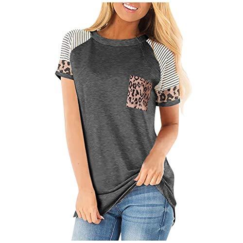 Camiseta de Cuello Redondo para Mujer, Estampado de Bolsillo con Costuras a la Moda, cómodo, versátil, Tendencia, Ropa de Calle, Jersey de Manga Corta XXL