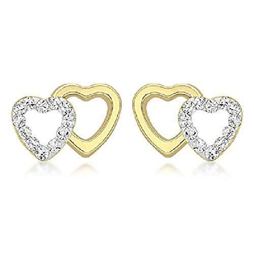 Carissima Gold Women's 9 ct Yellow Gold Cubic Zirconia Pave Set Double Heart 10.5 x 7.7 mm Stud Earrings