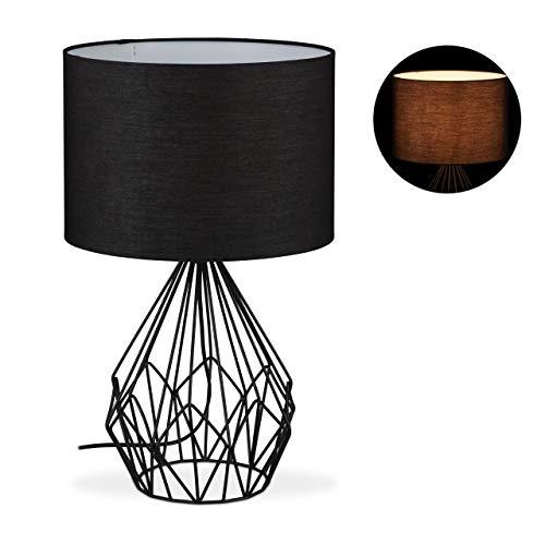Relaxdays Tischlampe Gitter, runder Stoffschirm, Metall Fuß, E27, Industrial, Nachttischlampe, HxD 51,5 x 32 cm, schwarz