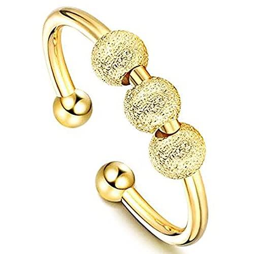 XPT Anillo ajustable de las mujeres de la manera esmerilado elegante giratorio cuentas anillo de banda unisex joyería para regalo amarillo oro