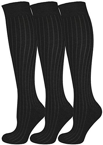 Mysocks 3 pares de calcetines largos hasta la rodilla unisex lisos acanalados con algodón peinado extra fino acanalados Negro