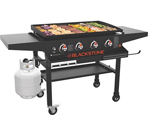 Blackstone 1984 Front Shelf, Side Shelf & Magnetic Strip Heavy Duty Flat Top Griddle Grill Station for Kitchen, Camping, Outdoor, Tailgating, 36 Inches, Black Griddles