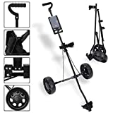 SUNUQ Golf Push Cart Foldable 2 Wheel Push Pull Golf Cart Cup Holder Trolley Swivel Steel Light Lightweight Collapsible Golf Cart Easy to Open (Black)