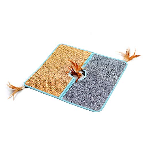 AnberCare Cat Scratching Mat, 18' x 18' Natural Sisal and PP Fiber Dual Material Cat Scratch Mats, Cat Floor Scratching Pad Rug, Protect Carpets and Sofas