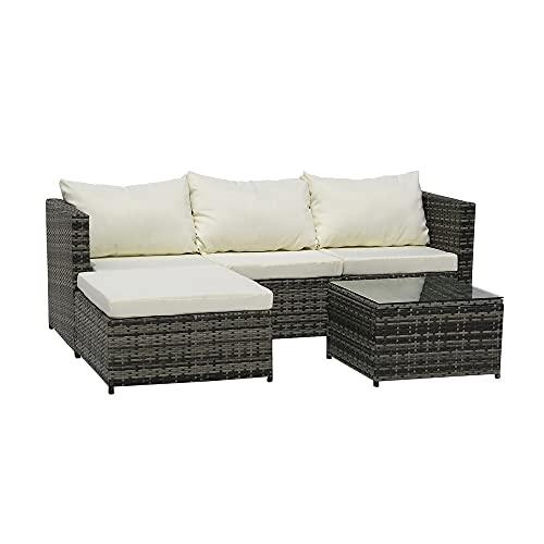 RIABXZ Juego de 3 muebles de patio al aire libre, juego de sofá de ratán para patio, mesa de jardín, juegos de bistro para patio, piscina o patio trasero