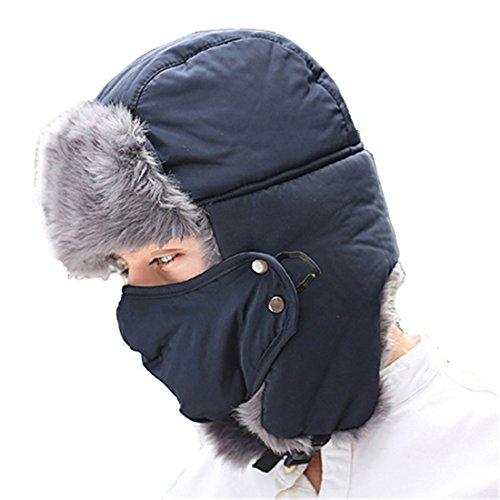 ECYC® Hiver Chaud Bomber Chapeaux pour Hommes Femmes ÉPaissir Coton Balaclava Masque De Balaclava, Bleu Marine