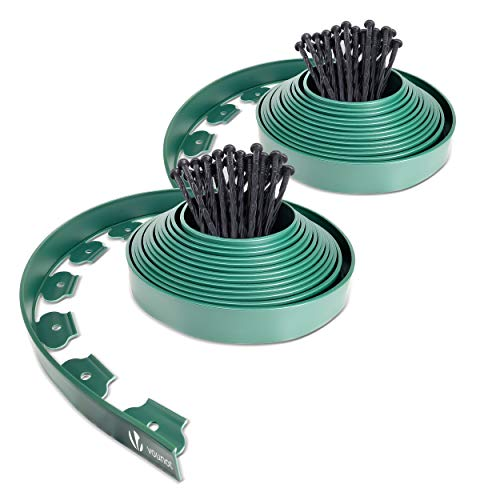 VOUNOT Plastic Garden Edging, Flexible 20m Lawn Edging with 60 Strong Securing Pegs, Green