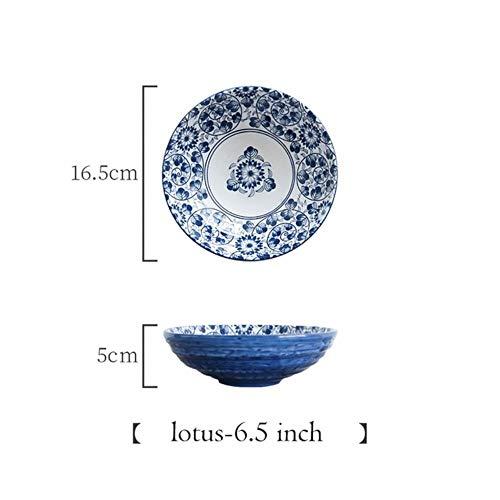 PINGS Japanische Schüssel Ramen-Nudel-Schüssel-Blaue und weiße keramische Essgeschirr-Salat-Reis-Frucht-Suppenschüssel, Lotos S