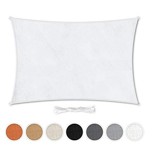 Hometex Premium Textiles Sonnensegel 2×3m Rechteckig inkl. Befestigungseile   Weiß   Sonnenschutz ideal für Garten, Terrasse, Balkon, Camping   Wind- & wasserabweisender Schattenspender